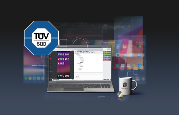 laptop screen where TestPresso is run and the TUV SUD logo on the top left