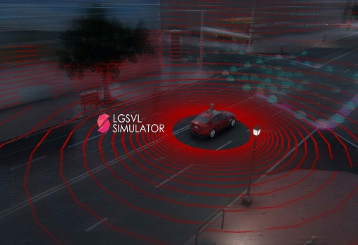 LGSVL Simulator logo and an autonomous car on the road