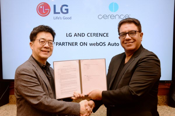 Dr. I.P. Park, president and CTO of LG Electronics, and Sanjay Dhawan, CEO, Cerence, shaking hands