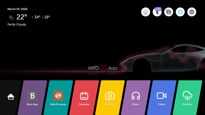 home screen of webOS Auto