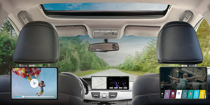 rear seat display with webOS Auto's launcher screen
