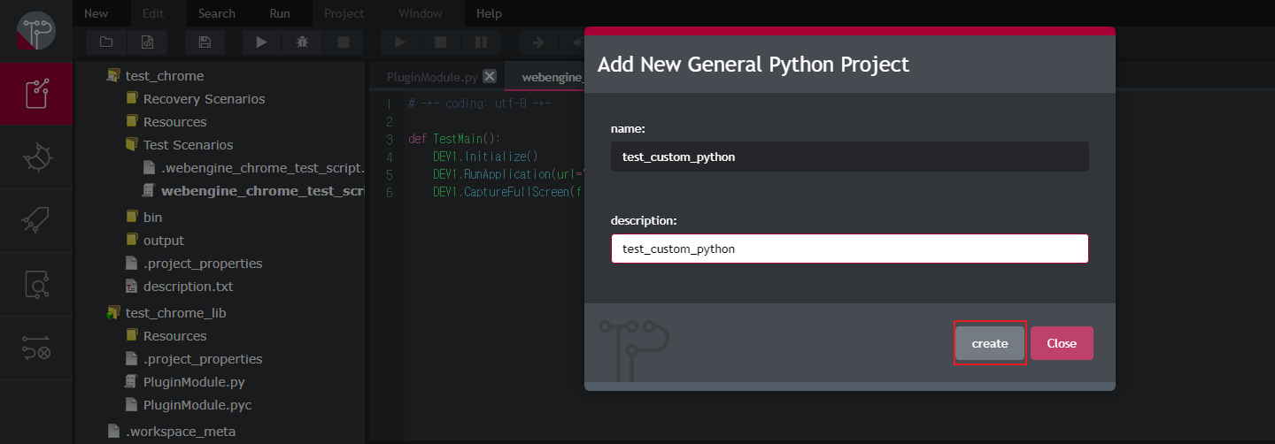 Click create Button for Add New General Python Project