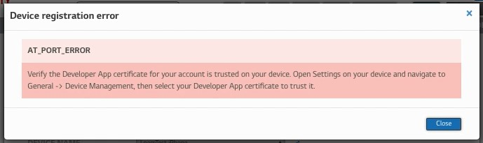 Trust Developer App certificate step1