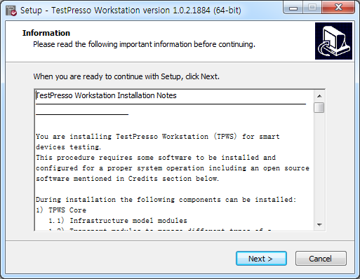 TestPresso Installation for Windows step2